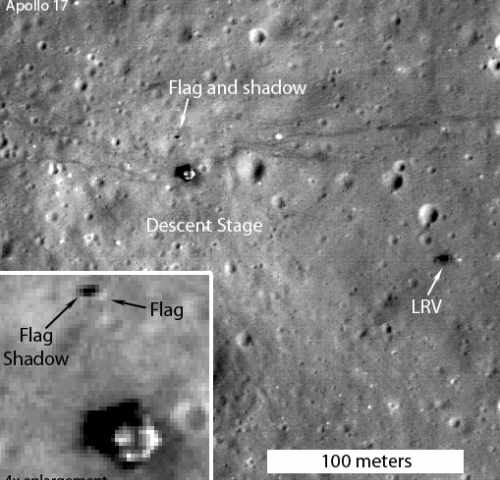 apollo-17-flag-shadow from 2012 Lunar Reconnaissance Orbiter